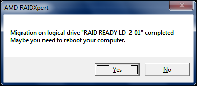 Qtools Software - HowTos - RAIDXpert - Migrate to RAID1
